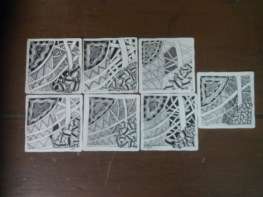 Here is their first tile. Tangles used: Crescent Moon, Jetties, Shattuck and Holibaugh.